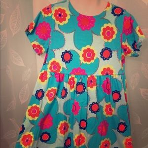 Hanna Andersson dress 6 Bright turquoise Floral